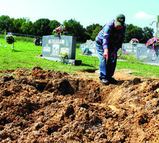 "<div class=""source""></div><div class=""image-desc"">  Haskel Murphy Jr. points to a large empty hole that someone dug in Murphy Cemetery. Below, a stillborn infant's grave also has been disturbed.  photos/VICKI STEVENS </div><div class=""buy-pic""><a href=""/photo_select/23434"">Buy this photo</a></div>"
