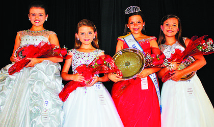 Miss Pre-Teen Casey County Fair winners are, from left, third runner-up Audrie Faith Roy, 9, Russell Springs; second runner-up, Adi Rose Bowling, 9, Owenton; winner Chloe Grace Wesley, 10, Liberty; and fourth runner up, Harper Ann Johnson, 8, Campbellsville.
