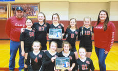 """<div class=""""source""""></div><div class=""""image-desc"""">The sixth grade Volley Rebs finished their season with a perfect record. They had an overall record of 21-0 and a conference record of 16-0 in route to a conference championship.  Pictured are front row left to right: Tessa Hale, Shelby McQueary, Karmen Cundiff, and Gracie Demrow. Second row: Coach Chris McQueary, Lakin Blevins, Bryanna Grider, Miley Cape, Kate Barnes, Elizabeth Forbes and Coach Katy Roy.  </div><div class=""""buy-pic""""><a href=""""/photo_select/27064"""">Buy this photo</a></div>"""