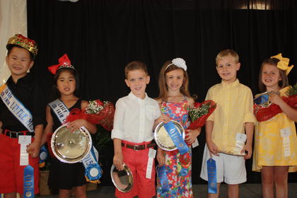 The winners of the Little Miss & Mr. Casey County Fair contest were Sidney Isabelle Sapp, daughter of Zachary and Sherry Sapp of Russell Springs, and Jay Harrison Helm, son of Gene and Sherie Helm of Jamestown. First runners-up were Victoria Lynn Brown, daughter of Eric and Natasha Brown of Kings Mountain, and Hagen Graham Reid Durham, son of Douglas and Rachael Thornburg of Stanford. Second runners-up were Harper DeVore, daughter of Jeric and Davene DeVore of Russell Springs, and Landon Wilkerson, son of Jamie and Kara Wilkerson of Liberty.