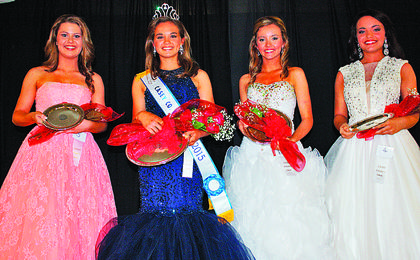 Miss Teen Casey County Fair winners are, from left,second runner-up Jayln Rebecca Loy, 14, Jamestown; winner, Gracie Marie Johnson, 12, Windsor; fi rst runner-up, Dana Gene Watts, 14, Russell Springs; and third runner-up, Maddie Purcell, 15, Science Hill.